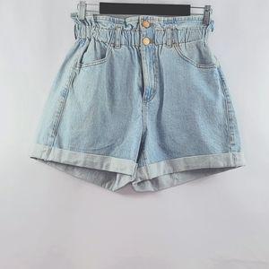 Garage high waist papper bag denim shorts